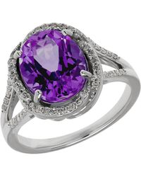 Lord & Taylor - Amethyst, Diamond And Sterling Silver Ring - Lyst