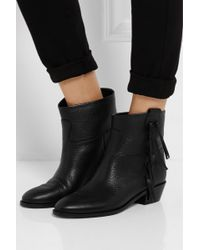 Valentino Crockee Fringed Leather Ankle Boots - Lyst
