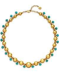 Lauren by Ralph Lauren Gold-tone Graduated Metal Turquoise Stone Necklace - Lyst