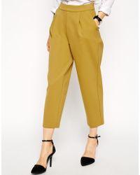 Asos Premium Bonded Peg Trousers In Mustard - Lyst