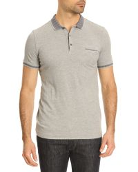 Ikks Grey Polo with Collar Trim - Lyst