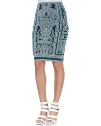 Hervé Léger Tempes Tapestry-print Bandage Skirt - Lyst
