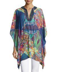 Neiman Marcus - Beaded Mixed-print Drawstring Tunic - Lyst