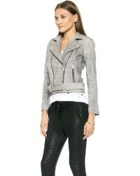 Iro Jova Leather Moto Jacket  Grey - Lyst