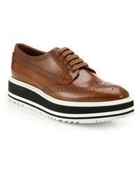 Prada Platform Leather Wingtip Brogues brown - Lyst