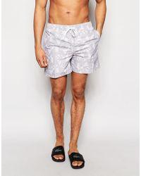 D-Struct - Geo Swim Shorts In Grey - Lyst