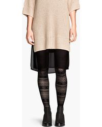 H&M Black Patterned Tights - Lyst