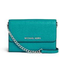 Michael Kors 'Jet Set Travel' Saffiano Leather Phone Crossbody Bag blue - Lyst