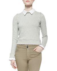 Alice + Olivia Combo Blousesweatshirt Knit Pullover - Lyst