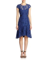 Rebecca Taylor Short-Sleeve Lace Dress - Lyst