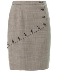 McQ by Alexander McQueen Houndstooth Asymmetric Panel Skirt - Lyst