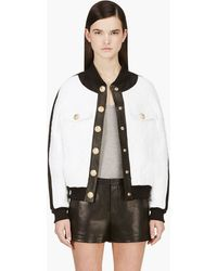 Balmain White and Gold Leather_trimmed Slub Jacket - Lyst