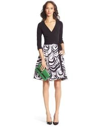 Diane von Furstenberg Dvf Jewel Silk Combo Pleated Wrap Dress - Lyst