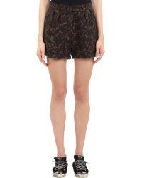Yang Li - Pleated Camouflage Jacquard Shorts - Lyst