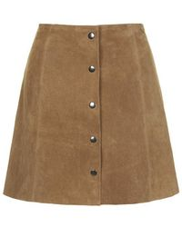 Topshop Suede Button Through A-Line Skirt - Lyst