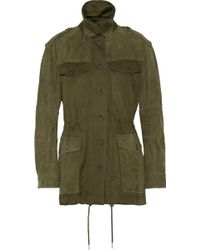 Burberry Brit | Nubuck-paneled Cotton And Linen-blend Canvas Coat | Lyst