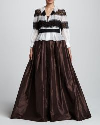 Carolina Herrera Brown Longsleeve Gown - Lyst