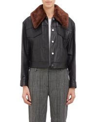 3.1 Phillip Lim Shearling-Collar Leather Jacket - Lyst