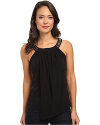 Calvin Klein Jeweled Double Layer Top - Lyst