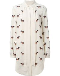 Tory Burch Horses Allover Print Pleated Front Shirt Dress - Lyst