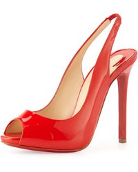 Christian Louboutin Flo Sling Patent Peeptoe Red Sole Pump Red - Lyst