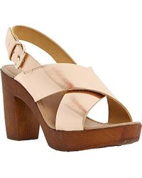 Dune Fraggel Metallic Leather Wooden Heeled Sandals - Lyst