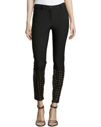 Nicole Miller Artelier | Cole Denim Pants With Studded Leather Detail | Lyst