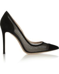 Gianvito Rossi Suede and Mesh Pumps - Lyst