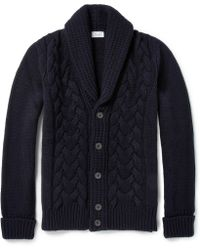 Façonnable - Cable Knit Wool And Cashmere-Blend Cardigan - Lyst