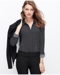 Ann Taylor Crepe Floral Dot Shirt - Lyst
