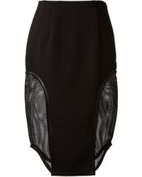 Jonathan Simkhai Black Fishnet Paneled Pencil Skirt - Lyst