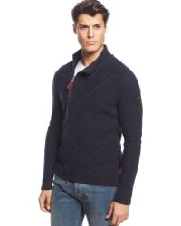 Armani Jeans Cable-knit Side-zip Cardigan - Lyst