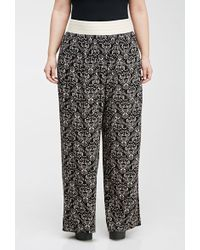 Forever 21 Baroque Print Wide-Leg Pants - Lyst