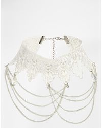 Asos Victoriana Lace Chains Choker Necklace - Lyst