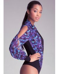 Bebe Print Wrap Bodysuit - Lyst