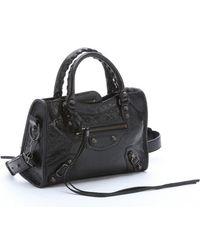 Balenciaga Black Lambskin 'Arena Classic Mini City' Convertible Shoulder Bag black - Lyst