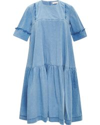 Preen Line Savannah Embroidered Denim Dress - Lyst