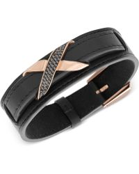 Swarovski - Men'S Cross Rose Gold-Tone Black Leather Bracelet - Lyst