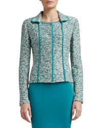 St. John Collection Ocean Wave Shimmer Tweed Knit Jacket with Silk Cdc Binding - Lyst