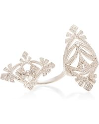 Joelle Jewellery - Antique White Double Ring - Lyst