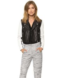 Cut25 by Yigal Azrouël - Leather Jacket with Zip Off Sleeves Jet Multi - Lyst