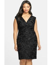 Marina - Embroidered Rosette Sequin Lace Double V-neck Sheath Dress - Lyst