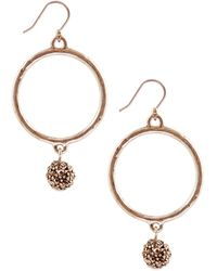 Lucky Brand Gold Tone Hoop Earrings with Crystal Balls - Lyst