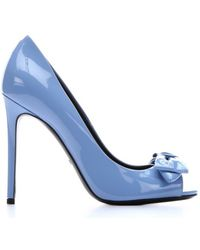 Gucci Mineral Blue Patent Leather Bow Detail Open Toe Pumps - Lyst