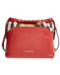Burberry Women'S 'Little Crush' House Check Crossbody Bag - Red - Lyst