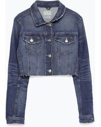 Zara Cropped Denim Jacket - Lyst