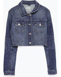 Zara Cropped Denim Jacket blue - Lyst
