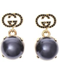 Gucci Crystal and Fauxpearl Earrings - Lyst