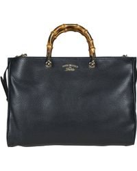 Gucci Borsa Donna Shopper Bamboo Nero - Lyst