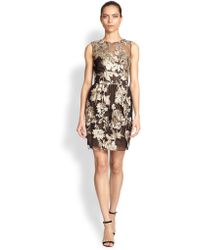 Notte By Marchesa Floral Embroidered Dress - Lyst